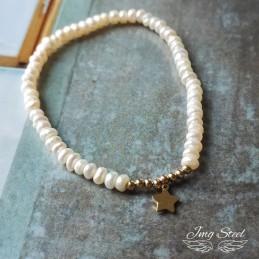 Bransoletka z perłami na gumce