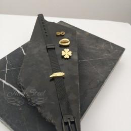 Czarna bransoletka na charmsy