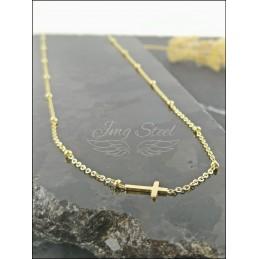 Łańcuszek z krzyżykiem ze złotymi kuleczkami