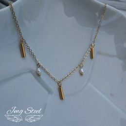 Naszyjnik z  rurkami i perłami