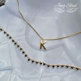 Naszyjnik kostka z literką K